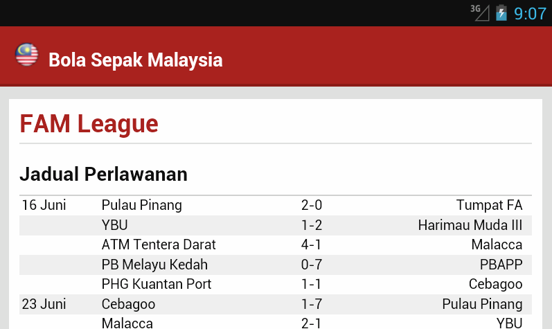 Perlawanan Bola Sepak Malaysia Bola Sepak Malaysia Screenshot