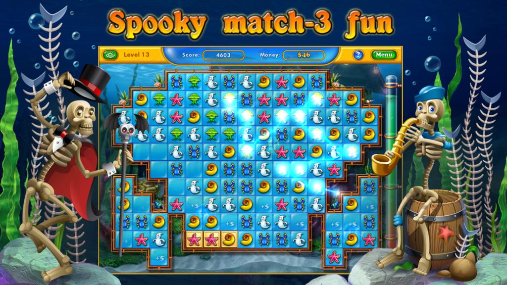 Fishdom Spooky HD- очередной представитель жанра три в ряд, кот