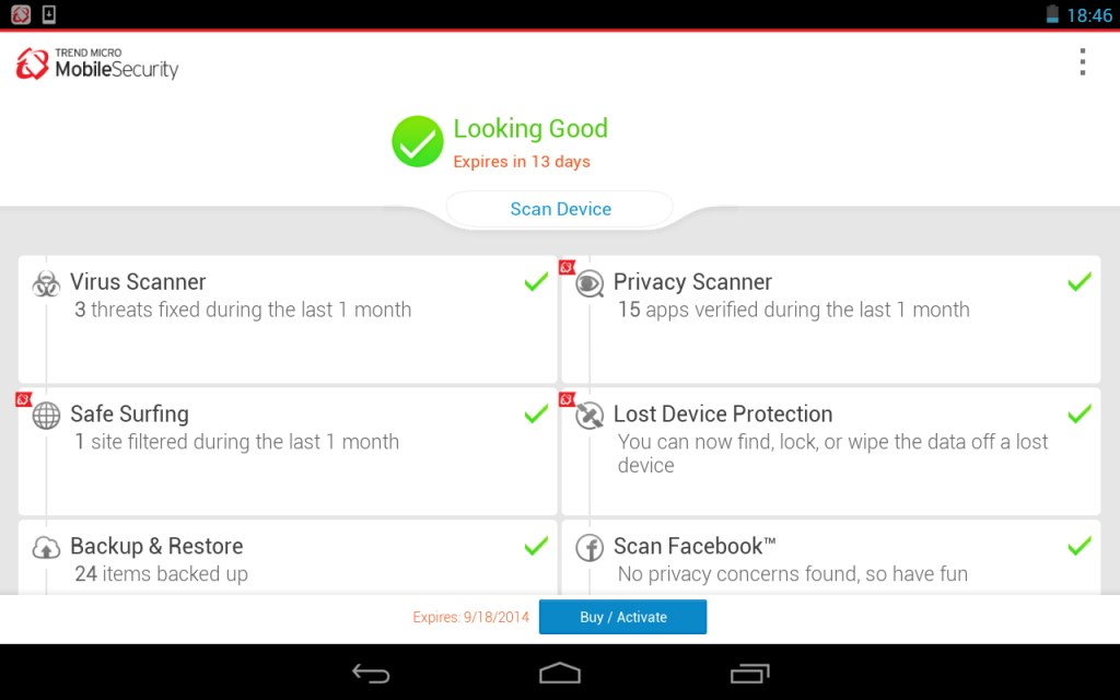 Trend Micro Mobile Security, Antivirus, & Performance Booster app provi