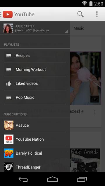 Персональные рекомендации *Непрерывное вопроизведение любимых музыкальных видео в Миксе YouTube *Быстрый поиск музыки...
